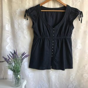 Theory Navy Blue Button Up Top Cotton Short Slv M